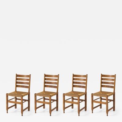 Set of Four 19th C Dutch Oak Rush Seat Chairs