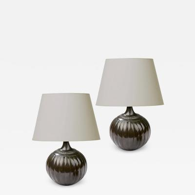 Just Andersen Pair of Petite Lobed Table Lamps in Disko by Just Andersen