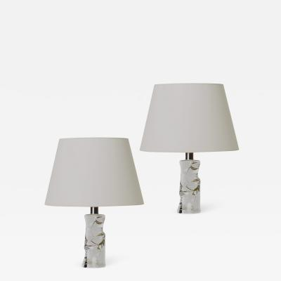 Olle Alberius Pair of Organically Modeled Table Lamps in Glass by Olle Alberius