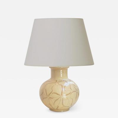 K hler Keramik Table Lamp in Ivory Glaze with Sgraffito Floral Pattern by K hler