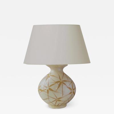K hler Keramik Table Lamp in Ivory Glaze with Sgraffito Floral Design by K hler