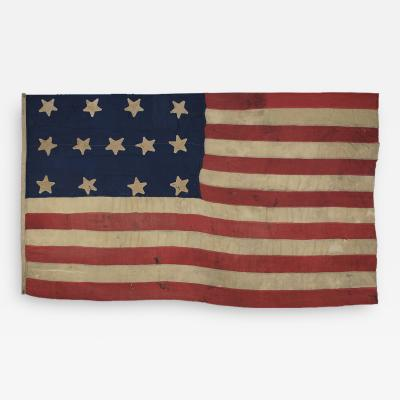 Antique American Flag with 13 Stars c 1820 1840