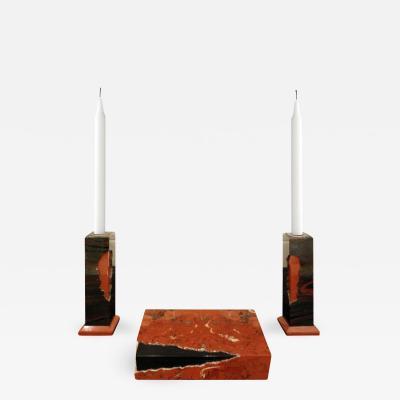 Karl Springer Karl Springer Hinged Box and Matching Candle Holders in Red Jasper 1980s