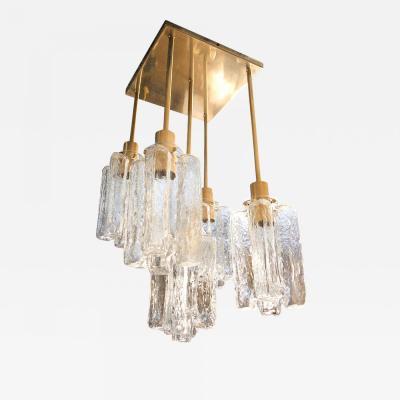 Kalmar Lighting 5 lights Murano glass brass flush mount by Kalmar Mid Century Modern 1960s