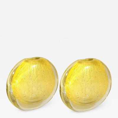 Archimede Seguso Pair of Round Gold Murano Glass Vases by Seguso Mid Century Modern 1970s