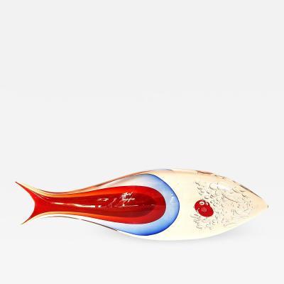 Flavio Poli Large size fish scupture in Sommerso Murano glass by Flavio Poli circa 1970s