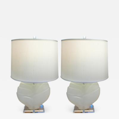 Pair of Frosted Glass Lucite Lamps