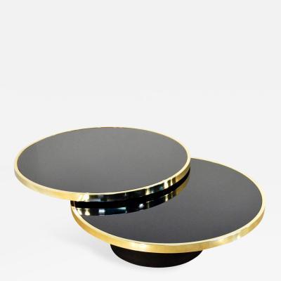 Design Institute America Design Institute of America Brass and Glass Swivel Cocktail Table