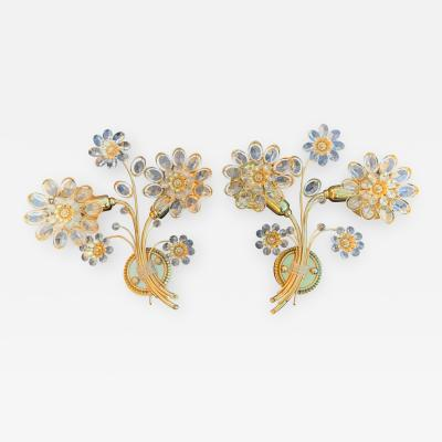 Palwa Pair Floral Crystal Palwa Sconces