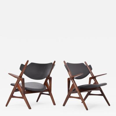 Pair of 1950s Vintage Black Midcentury Chairs