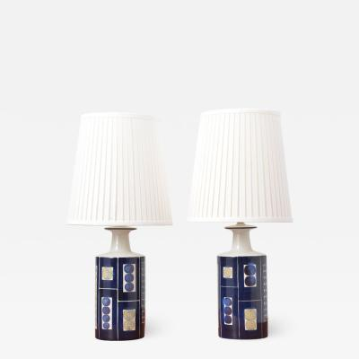 Inge Lise Koefoed Pair of Royal Copenhagen Aluminia and Fog M rup Lamps by Inge Lise Koefoed