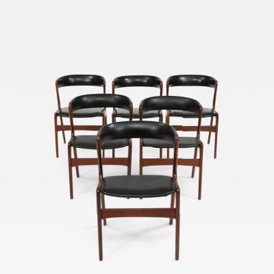 Kai Kristiansen KAI KRISTIANSEN Set of six teak chairs circa 1960 Denmark