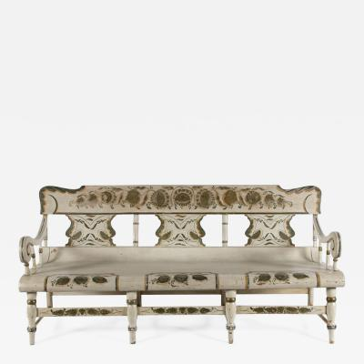 Oversized Whimsical Paint Decorated Pennsylvania Settee ca 1865 1870