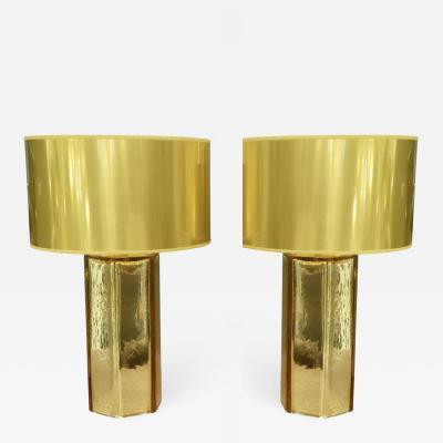 Alberto Dona PaIr of Italian Gold Murano Mercury Glass Table Lamps Signed by Alberto Dona