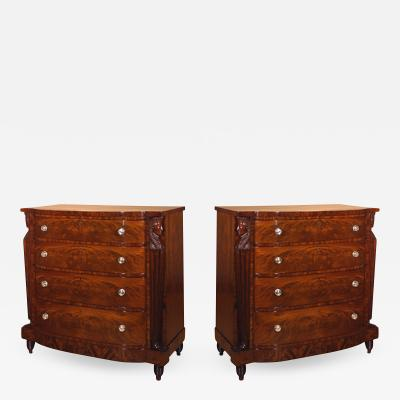 Pair Four Drawer Chests or Elliptic Bureaus with Egyptian Figures about 1815