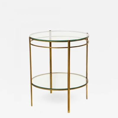 Maison Malabert Glass and Brass Side Table by Jaques Quinet for Maison Malabert