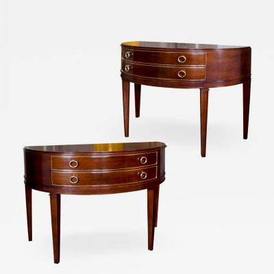Ernst K hn Very Fine Pair of Demi Lunes in Mahogany with Brass Mounts by Ernst Kuhn