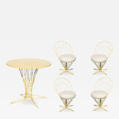 Verner Panton Verner Panton Style Wire Cone Chairs and Dining Table Set