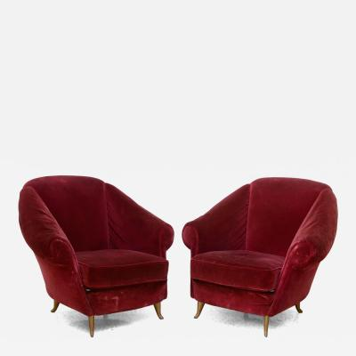 Gio Ponti Pair of Italian Modern Lounge Chairs Gio Ponti for ISA Model 12690