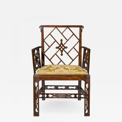Ince Mayhew 18th Century Chinese Chippendale Cockpen Armchair Desk Chair