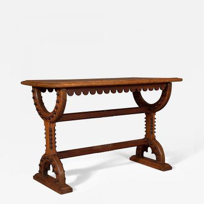 An Interesting Pitch Pine And Mahogany Center Table In The Gothic Taste