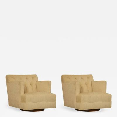 Baker Furniture Co Pair of Tufted Swivel Chairs in the Spirit of Dunbar circa 1960s