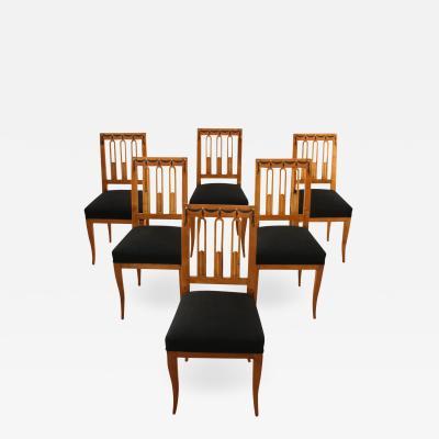 Six Biedermeier Chairs with Garland Inlays ca 1820