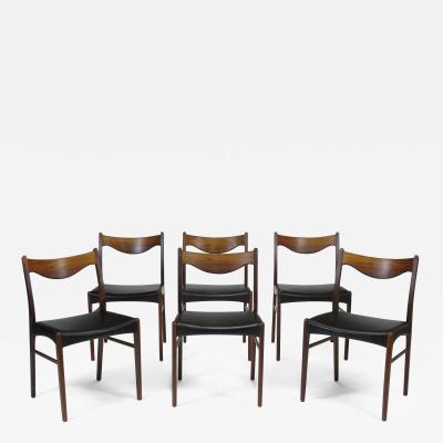 Arne Wahl Iversen Arne Wahl Danish Rosewood and Leather Dining Chairs Set of 6