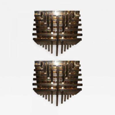 Philippe Jean Two large 1970s sconces by Philippe Jean