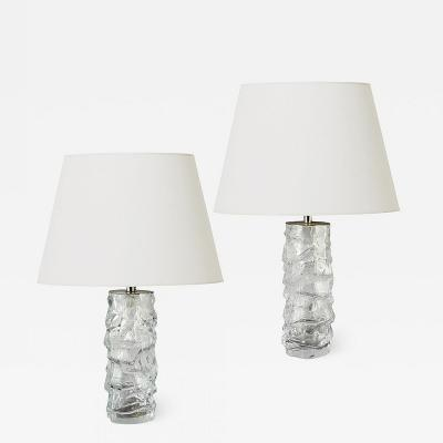 Reijmyre Glasbruk Pair of Brutalist Table Lamps with Rocky Column Bases in Crystal by Reijmyre