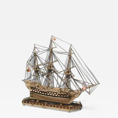 French Warship Sailing Model Napoleonic Prisoner of War of 74 Guns c 1800