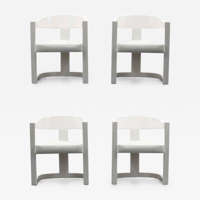 Karl Springer Karl Springer Onassis Armchairs Dining Chairs Set of Four Circa 1980