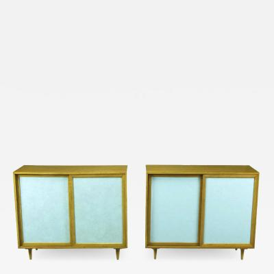 Harvey Probber Pair of Tiffany Blue Leather Front Cabinets