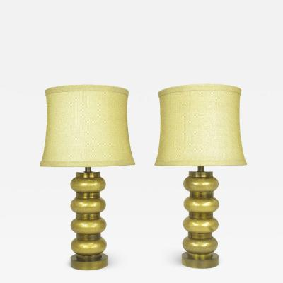 Pair of Paul Hanson Reverse Gilt Crackle Glass and Brass Table Lamps