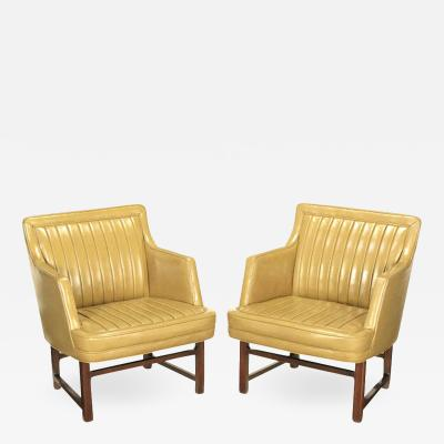 Edward Wormley Uncommon Pair of Bucket Seat Leather Mahogany Club Chairs Circa 1950s