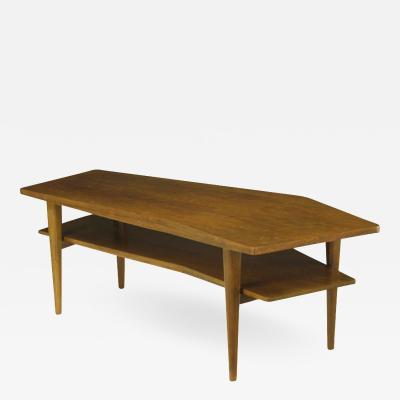M Singer Sons Angled Italian Walnut Coffee Table Circa 1950s