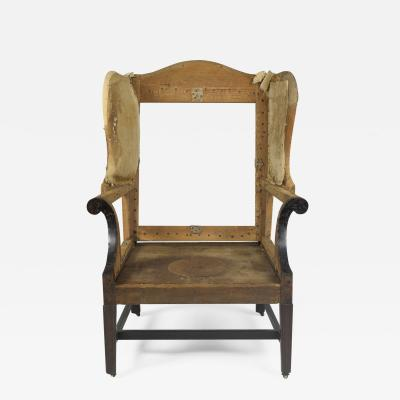 Philadelphia Mahogany Molded Leg Upholstered Easy Chair Circa 1785