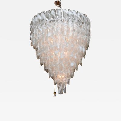 A V Mazzega Monumental Italian Modern Glass Chandelier Mazzega