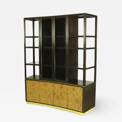 Edward Wormley Walnut Olive Ash Burl Tall Cabinet For Dunbar