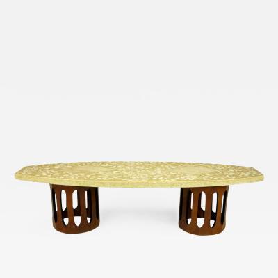 Harvey Probber Terrazzo Mahogany Double Dodecagon Coffee Table Circa 1960s
