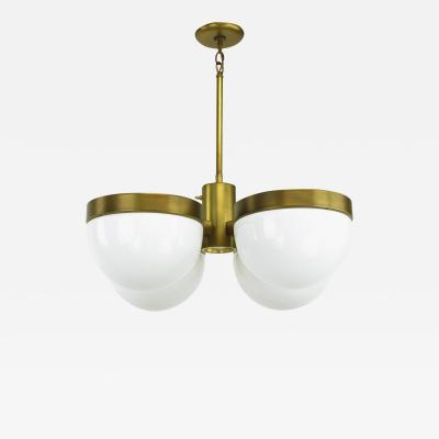 Feldman Lighting Co Feldman Lighting Five Light Hemispherical Milk Glass and Brass Pendant