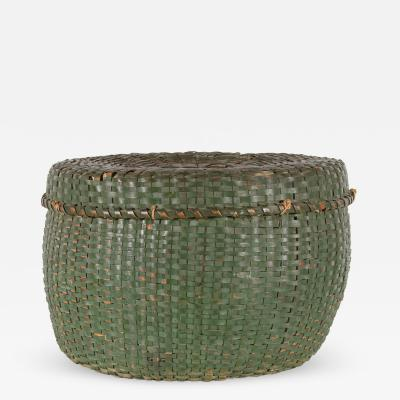 Lidded Lined Splint Basket in Green Paint Last Quarter 19th Century