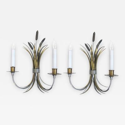 Maison Charles A Pair of French Nickel Brass and Bronze Sconces by Maison Charles c 1950