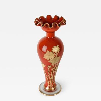Rare Antique Baccarat Crystal Frame Gold Enameled Vase
