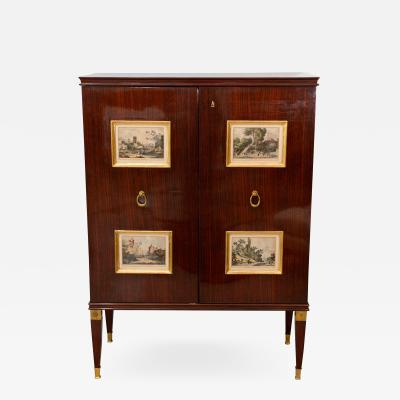 Paolo Buffa A Fine Mahogany and Gilt Bronze Bar Cabinet Paolo Buffa Italy 1950s