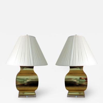 Chapman Manufacturing Company Pair Large Modern Geometrical Urn Shape Brass Lamps