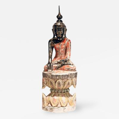 Antique Polychrome Buddha Burmese on Lotus