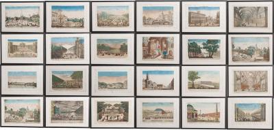 SUITE OF TWENTY FOUR FRENCH 18TH CENTURY HAND COLORED VUE D OPTIQUE ETCHINGS