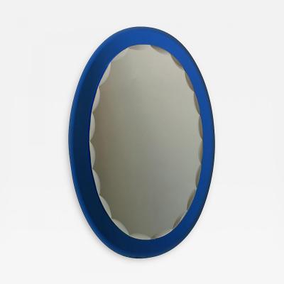 Metalvetro Galvorame Mid Century Modern Italian Metalvetro Galvorame Mirror with Blue Glass Frame