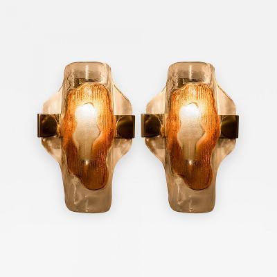 Kalmar Lighting Kalmar Glass Brass Flush Mount Granada Austria 1960